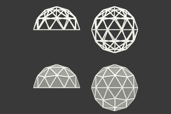 Icosphere-rectangular-frame-geodesic-dome-ball
